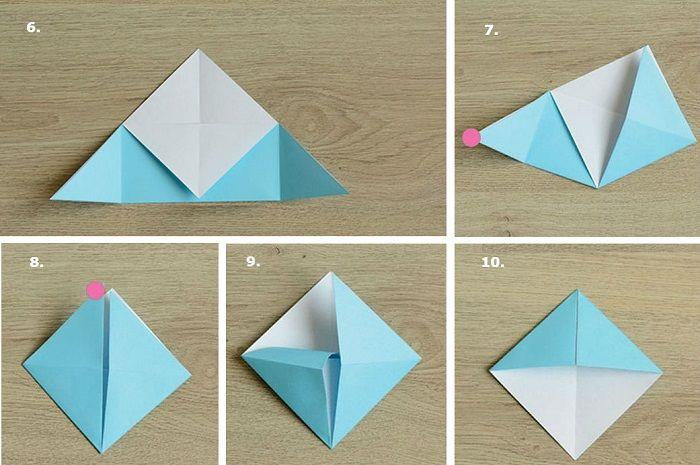 Оригами-закладка поэтапно: шаги 6-10