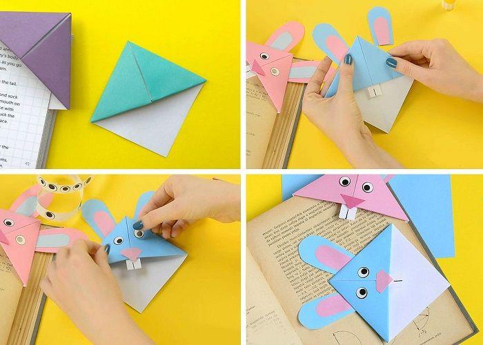 Закладка-оригами «Заяц» поэтапно