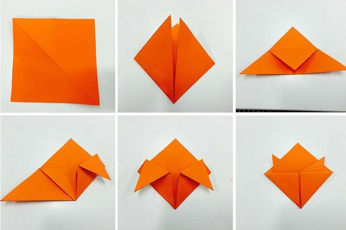 Складывание закладки из бумаги: шаги 1-6