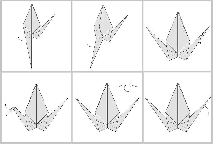 Складывание жураавля оригами: этапы 43-48