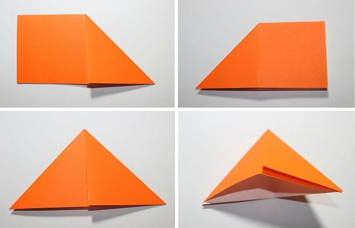 Сборка журавля из бумаги: 5-8 шаг