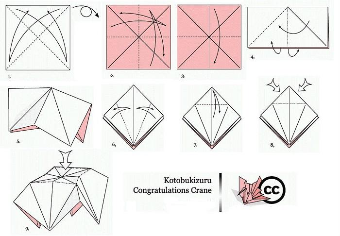 Схема сборки праздничного журавля-оригами