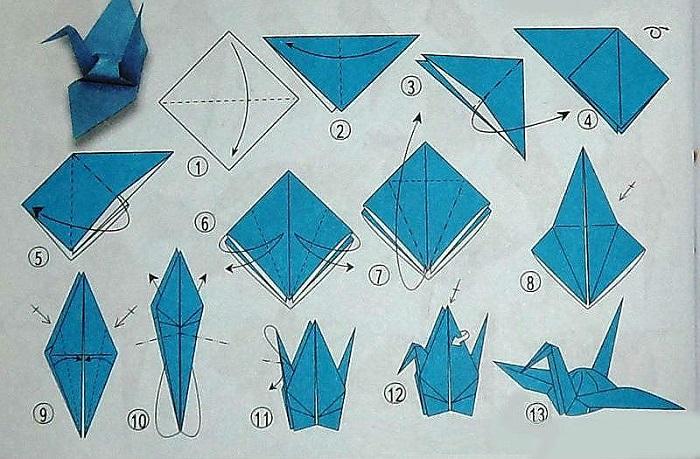 Схема журавля оригами