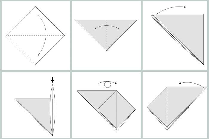 Складывание жураавля оригами: этапы 1-6