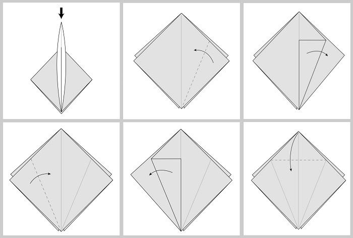 Складывание жураавля оригами: этапы 7-12