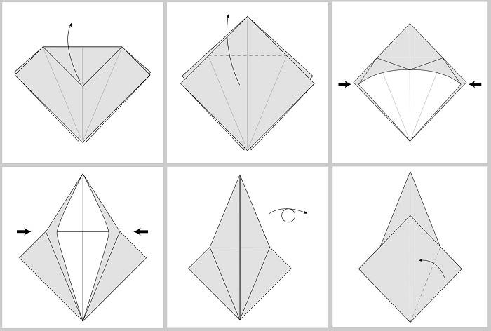 Складывание жураавля оригами: этапы 13-18