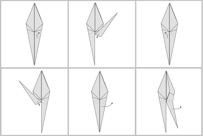 Складывание жураавля оригами: этапы 37-42