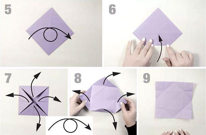 Бумажная бабочка: этапы складывания 5-9