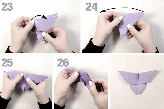Бумажная бабочка: этапы складывания 23-26