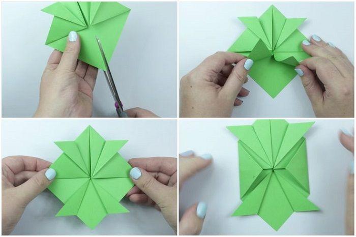 Черепаха оригами: этапы складывания 9-12