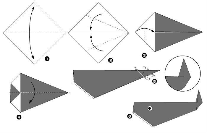 Кит оригами (схема)