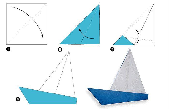 Яхта оригами (схема)