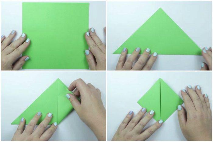 Черепаха оригами: этапы складывания 1-4