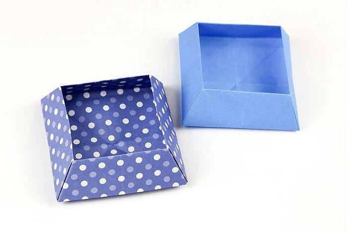 Коробочка оригами из крафт-бумаги