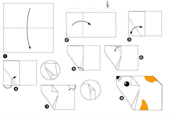 Хомячок оригами (схема складывания)