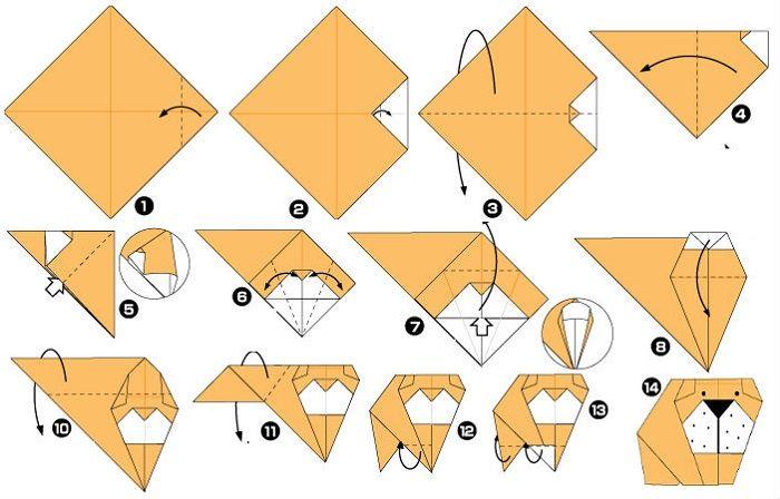 Бульдог оригами (схема складывания)