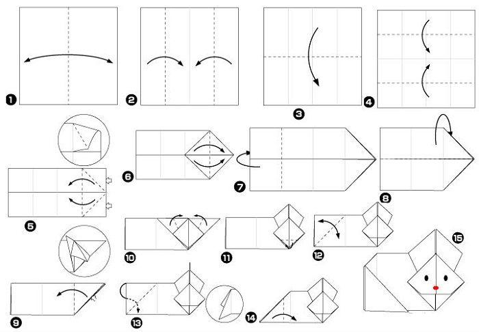 Кролик оригами (схема складывания)