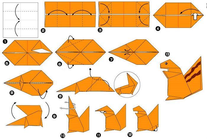 Белка оригами (схема складывания)