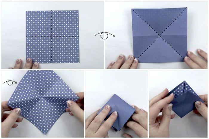 Коробочка из крафт-бумаги: шаги 1-5