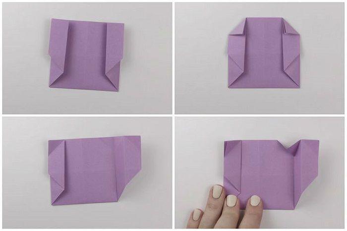 Сумочка оригами: этапы складывания 13-16