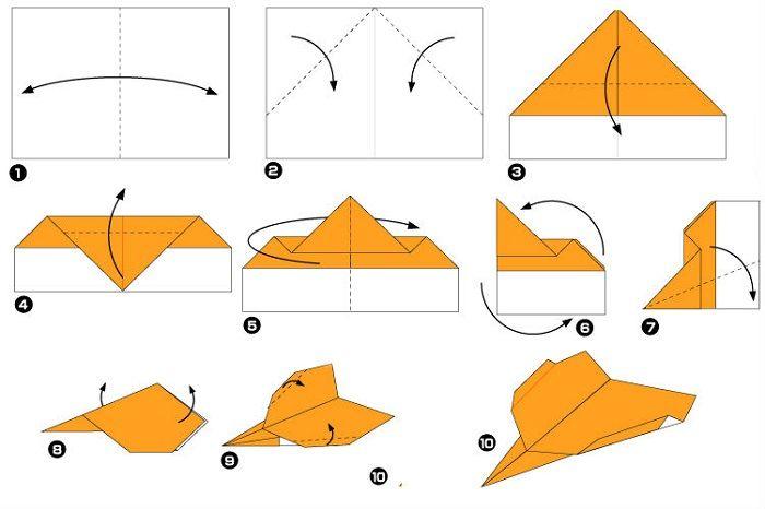 Самолет оригами (схема)