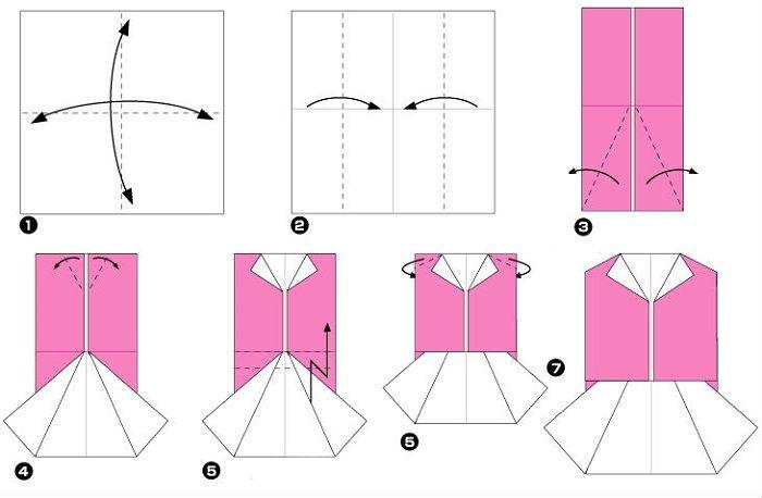 Жилет с юбкой (схема складывания)