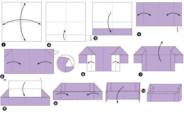 Мебель для кукольного домика (схема складывания)