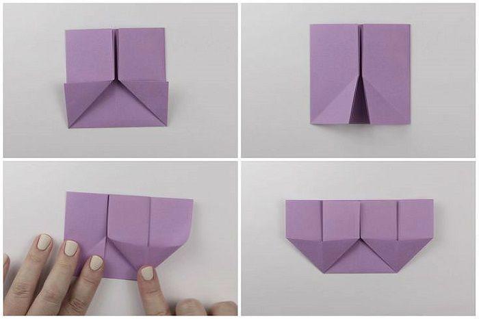 Сумочка оригами: этапы складывания 5-8