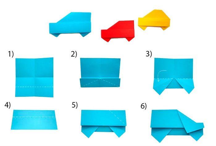 Этапы складывания машинки из бумаги