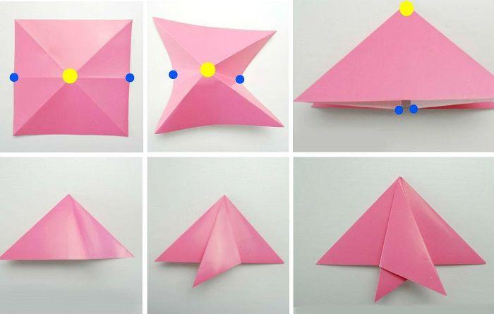 Рыбка из бумаги: этапы складывания 1-6