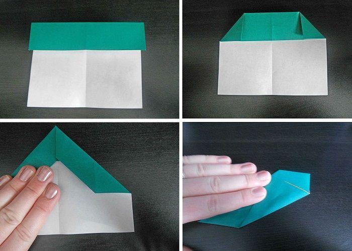 Самолетик оригами: этапы складывания 1-4