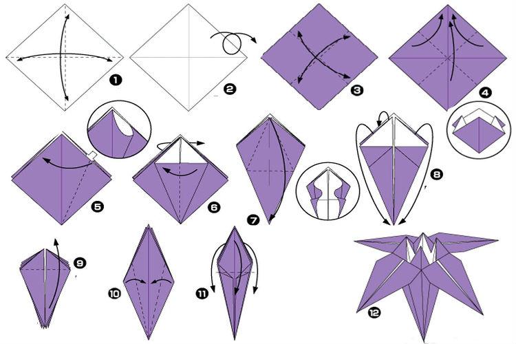 Изысканный ирис-оригами 7