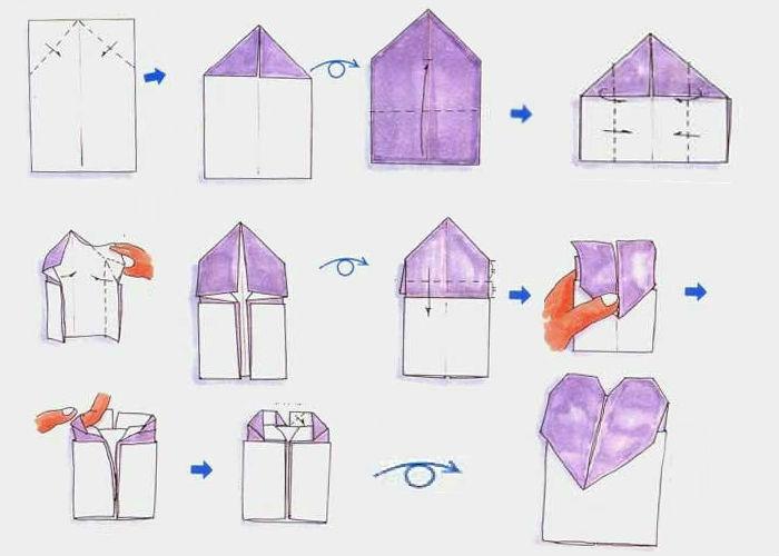 Схема сборки конверта с сердцем