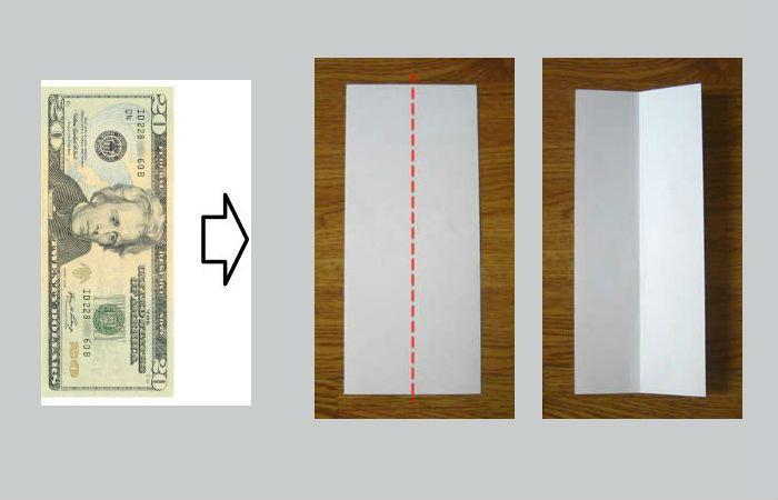 Складывание оригами из долларовой купюры