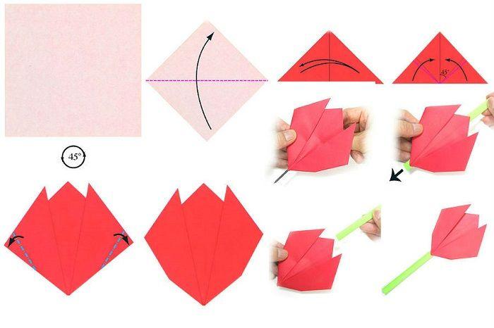 Плоский тюльпан из бумаги поэтапно