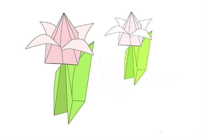 Как сложить объемный тюльпан из бумаги