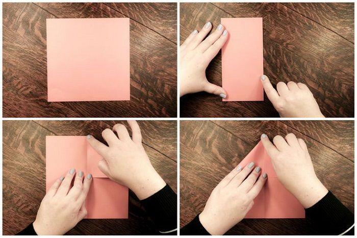 Простая рыбка из бумаги: этапы 1-4