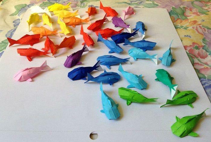 Радужные рыбки из бумаги