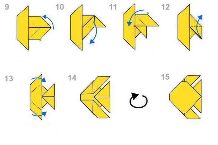 Схема сборки бумажной рыбки