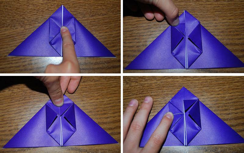 Бумажная рыбка: схема сборки, шаг 2