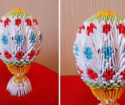 Бумажное пасхальное яйцо на подставке