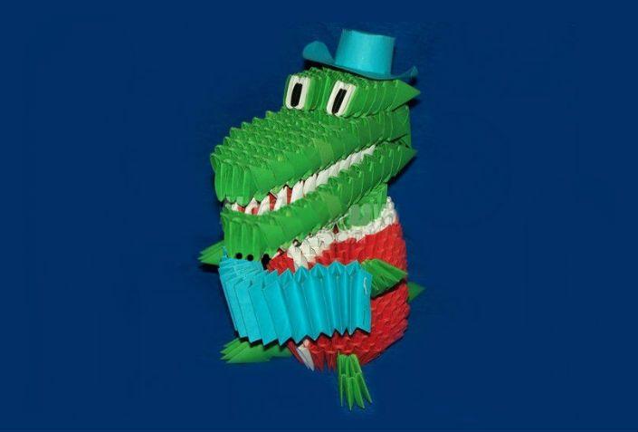 Крокодил Гена с гармошной в технике оригами