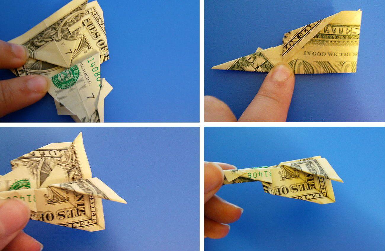 Сборка оригами самолет из банкноты