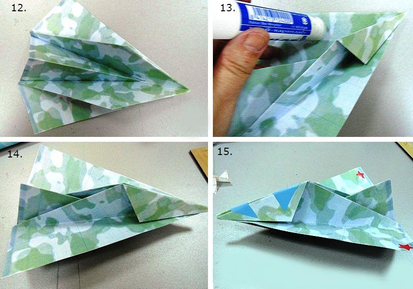 Процесс сборки оригами Бомбардировщик Т-4