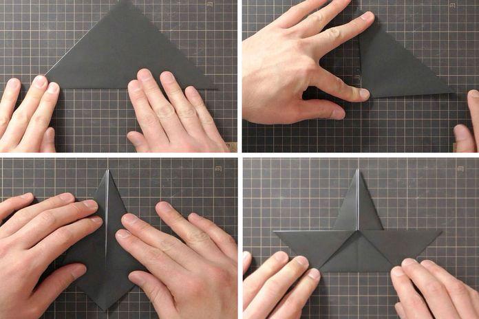 Сборка оригами говорящего ворона: шаг 1