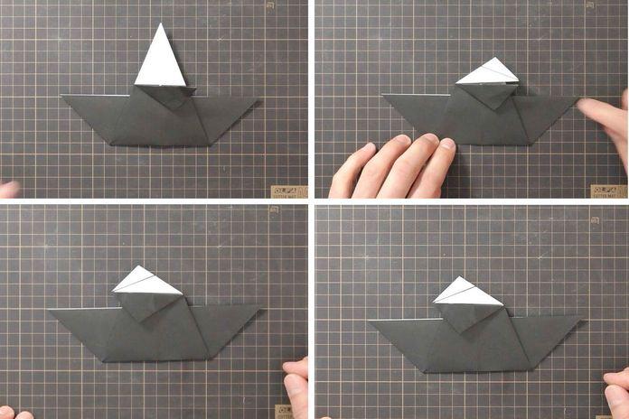 Сборка оригами говорящего ворона: шаг 4