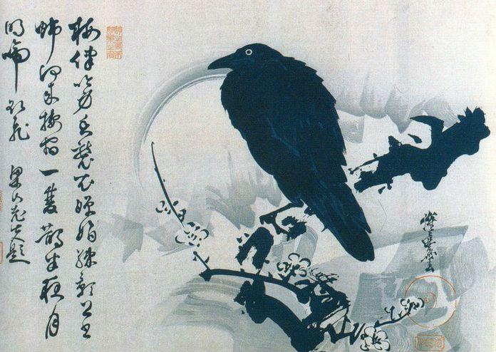 Японский рисунок ворона