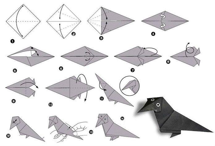 Схема сборки простейшей модели ворона