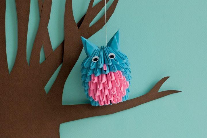 Модульное оригами из треугольников Сова