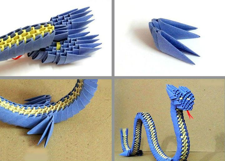Схема сборки модульного оригами Дракон